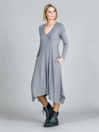Vestido em malha longo assimétrico