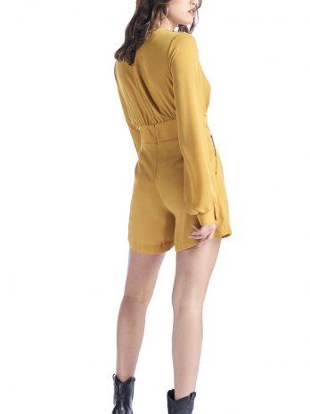 Jumpsuit calção liso com manga comprida