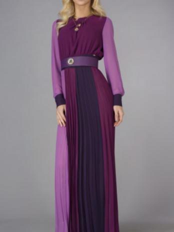 Vestido plissado tricolor