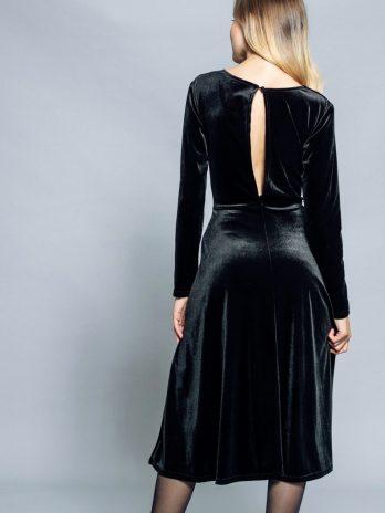 Vestido veludo decote nas costas