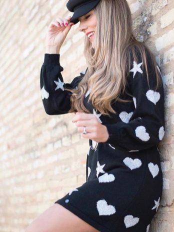 Vestido estrelas e corações com cinto