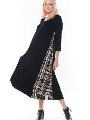 Vestido comprido com xadrez lateral
