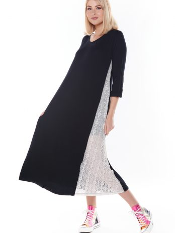Vestido comprido com renda lateral