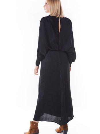 Vestido comprido acetinado abertura costas
