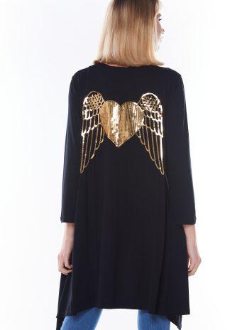 Casaco coração/asas nas costas