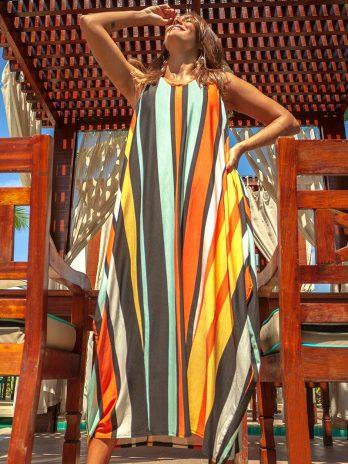 Vestido Longo Manga Cava