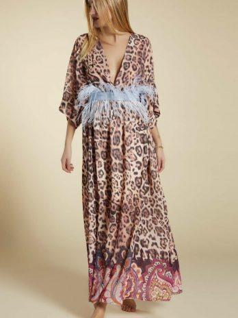 Vestido leopardo barra flores