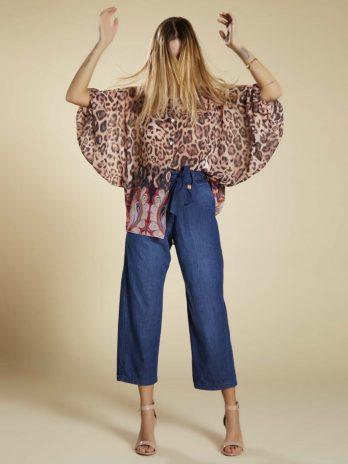 Camisa leopardo barra flores
