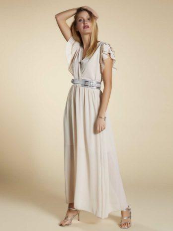 vestido manga duplo plissado
