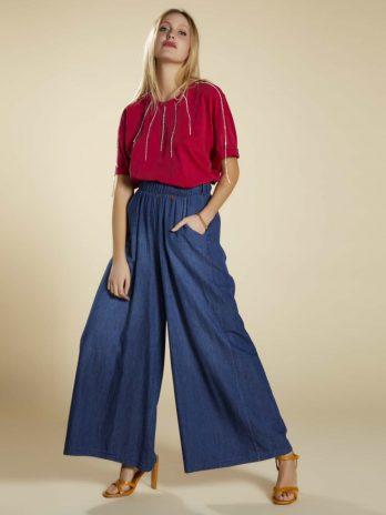 Pantalona jeans cinto color