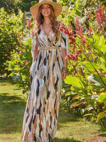 Vestido longo manchas