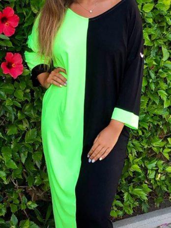 Vestido dupla cor com manga