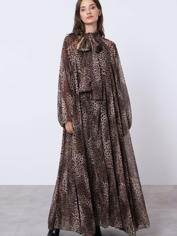 Vestido laçada leopardo