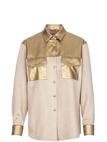 Camisa camurça com ecopele or