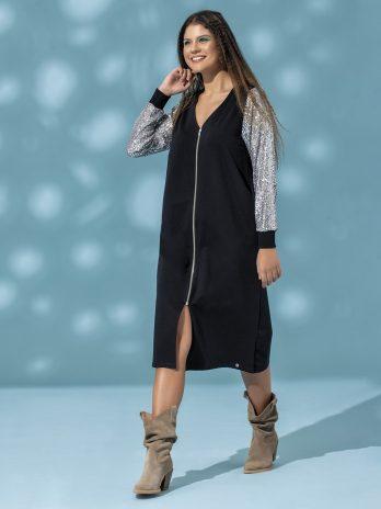 Casaco/vestido com fecho e manga lantejoulas