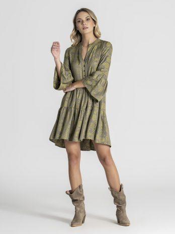 Vestido midi padrão étnico