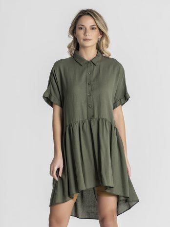 Túnica/camisa com folho algodão