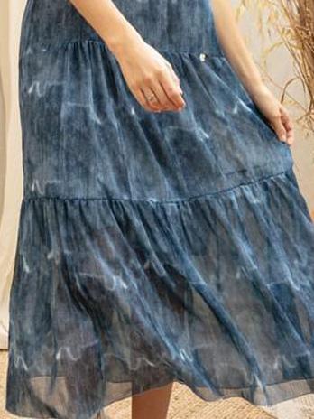 Vestido Crepe Efeito Jeans