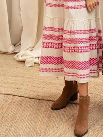 Vestido Étnico Linho Manga Cava