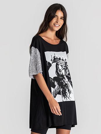 T-shirt Coroa com Mangas Lantejoulas