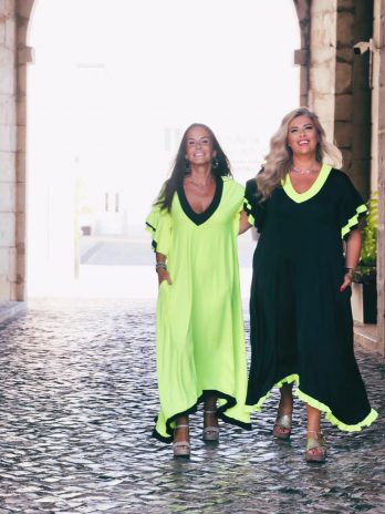 Vestido bicolor folho exclusivo
