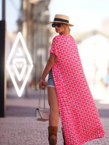 Kimono comprido com aberturas