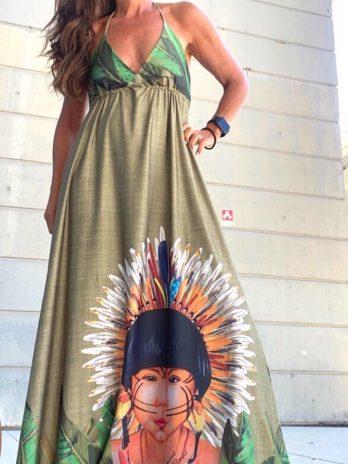 Vestido índio atilho pescoço