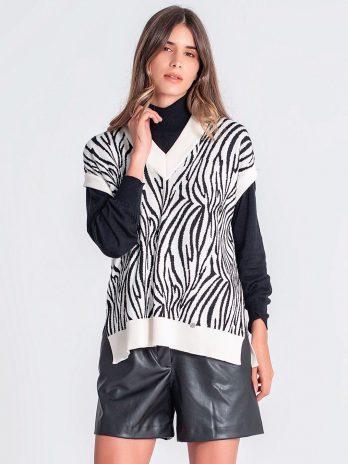 Camisola zebra sem mangas
